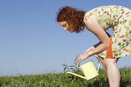 Bewässerungswiese der jungen Frau, Seitenansicht