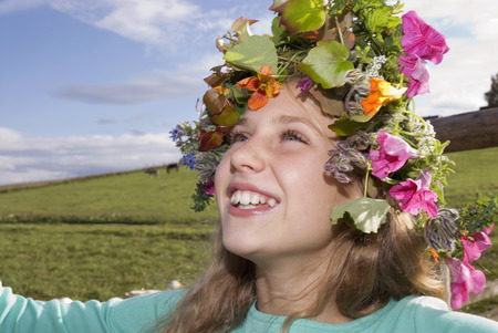 Girl Wearing Wreath Of Flowers