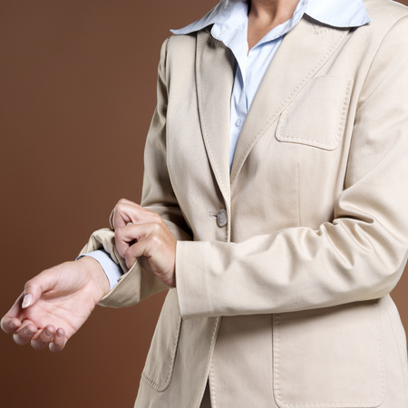 trouser: Businesswoman, Close-Up, Rolling Up Sleeves