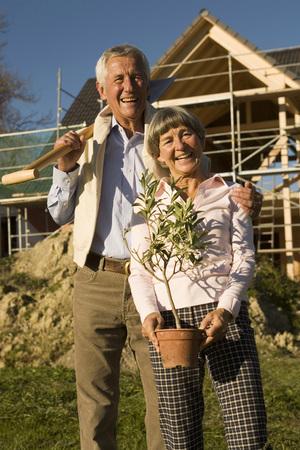 Senior Couple Gardening, Smiling, Portrait, Low Angle View