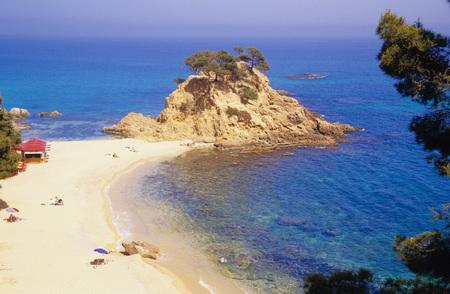 People At Sandy Beach, Elevated View, Cap Roig, Platja De Cap Roig, North Of Platja DAro, Costa Brava, Catalonia, Spain LANG_EVOIMAGES