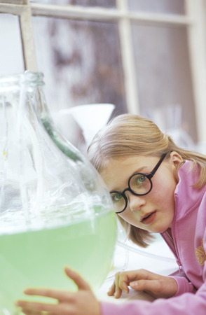 enquiring: Girl (8-9) In Chemical Lab, Close-Up