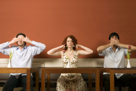 Young Men And Woman Covering Eyes, Ears And Mouth