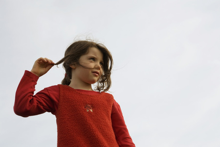 Girl (7-9), Hand In Hair
