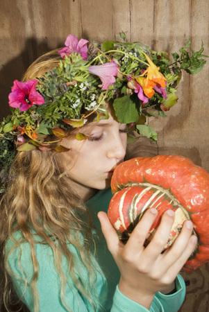 passion fruit flower: Girl Wearing Wreath Of Flowers, Holding Pumpkin