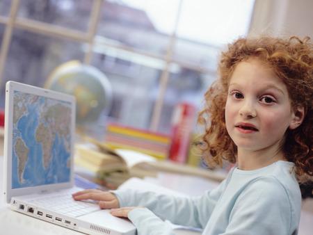 technolgy: Girl (6-7) With Laptop, Portrait