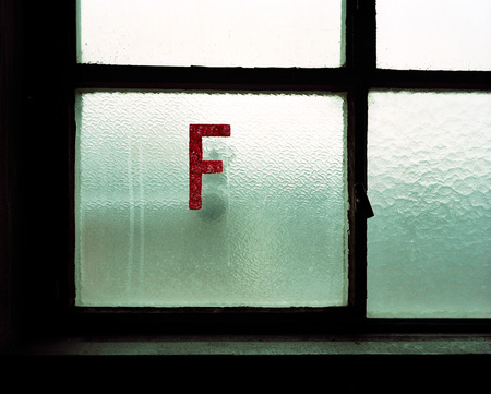 vintage riffle: F-Letter On Frosted Glass