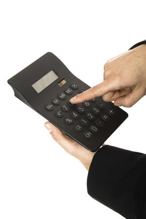 Man Using Calculator, Close-Up