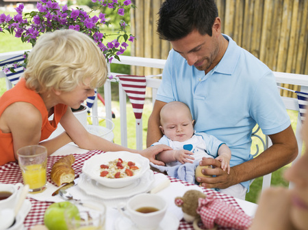 Father And Children At Breakfast Table, Father Holding Baby
