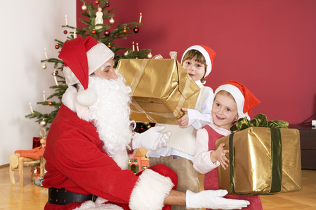 Children Receiving Presents From St. Claus