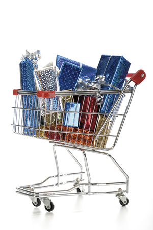give out: Supermarket Trolley With Christmas Parcels