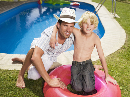 Father And Son In Garden, Portrait LANG_EVOIMAGES