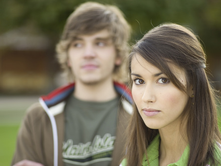 Young Woman, Portrait, Young Man In Background