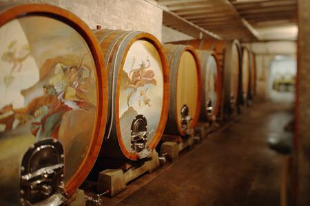 Wine Casks In Cellar, Close-Up