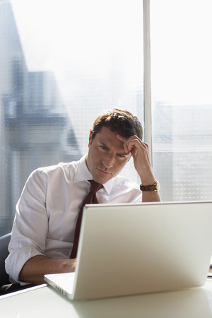 Business Man Using A Laptop, Concentration