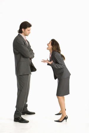 critical thinking: Business Woman Laughing At Business Man