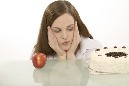 afters: Woman With Apple And Cake, Hands On Cheek LANG_EVOIMAGES