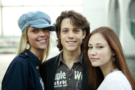 Young Man With Two Young Women, Portrait