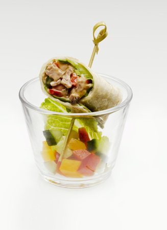 Wrap With Beef And Vegetable In Glass