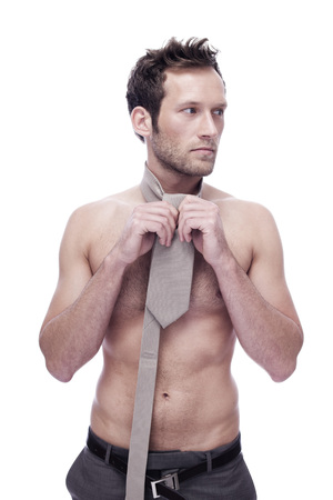 Barechested Man Wearing A Necktie, Portrait LANG_EVOIMAGES