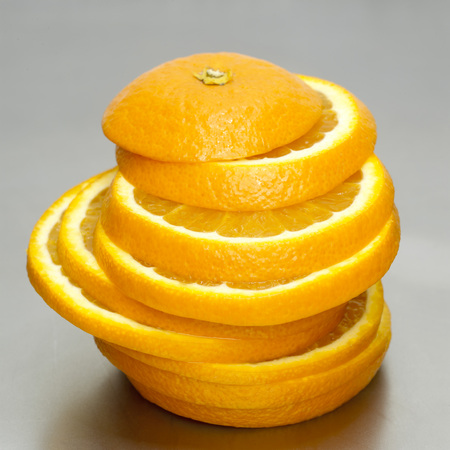 vitamine: Orange Slices, Stacked, Close-Up