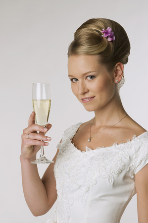 marrying: Young Bride Holding Champagne Glass, Portrait