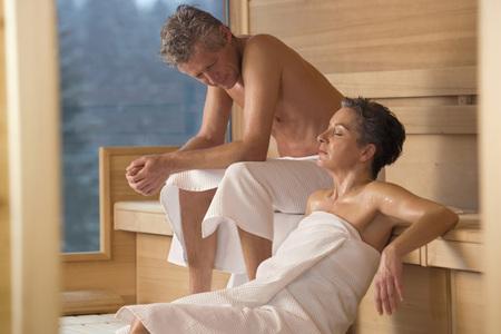 body consciousness: Mature Couple In Sauna