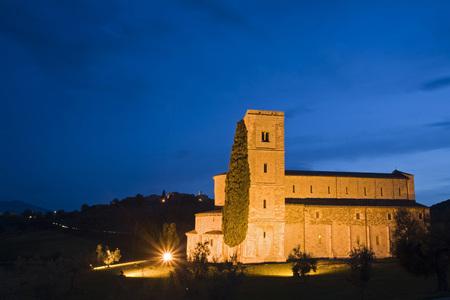 Italy, Tuscany, SantAntimo Abbey Church At Night LANG_EVOIMAGES