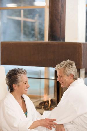 Mature Couple In Bathrobe, Smiling, Portrait