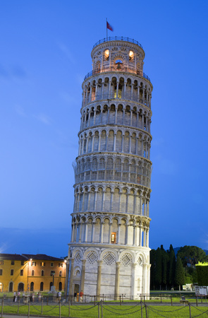 Italy, Tuscany, Pisa, Piazza Dei Miracoli, Square Of Miracles, Leaning Tower At Twilight