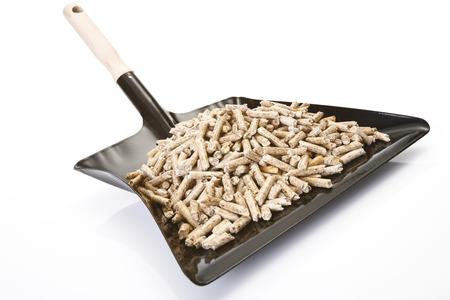 Wood Pellets On Dustpan, Close-Up LANG_EVOIMAGES