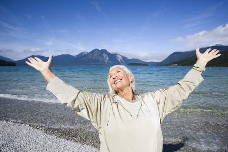 ardor: Germany,Bavaria,Walchensee,Senior Woman,Cheering