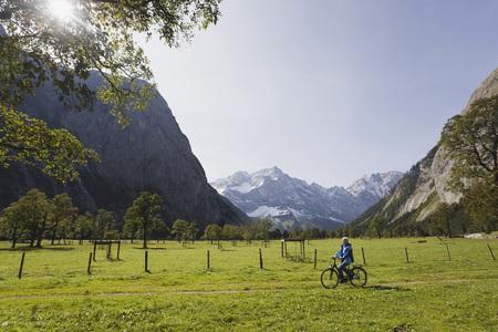 Austria,Karwendel,Senior Woman Biking