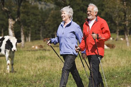 Austria,Karwendel,Senior Couple Nordic Walking