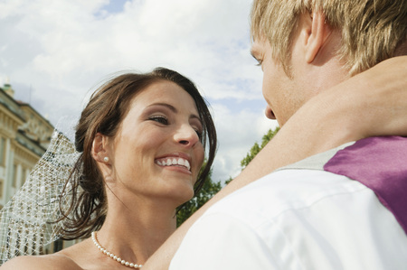 marrying: Germany,Bavaria,Bridal Couple Embracing Outdoors,Portrait,Close-Up LANG_EVOIMAGES