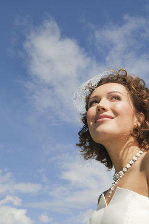 marrying: Germany,Bavaria,Bride Looking Up,Low Angle View,Close-Up