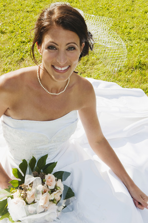 marrying: Germany,Bavaria,Bride On Meadow,Smiling,Portrait,Elevated View