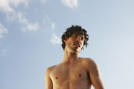 Germany,Berlin,Barechested Man,Portrait,Low Angle View