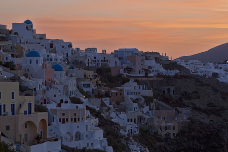 Europe,Greece,Thira,Cyclades,Santorini,Oia,View Of Village At Morning