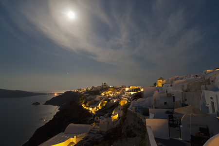 Europe,Greece,Thira,Cyclades,Santorini,View Of Oia At Full Moon