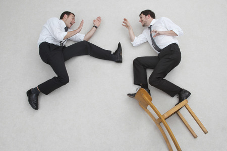 Two Businesssmen Fighting,Side View,Elevated View