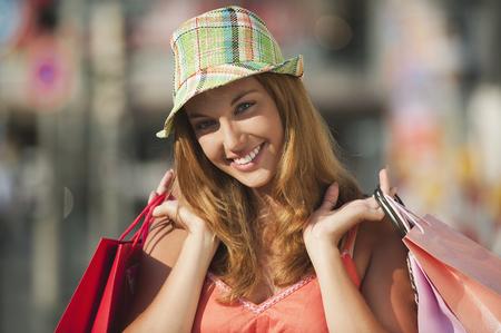 Germany,Munich,Karlsplatz,Young Woman Smiling,Portrait