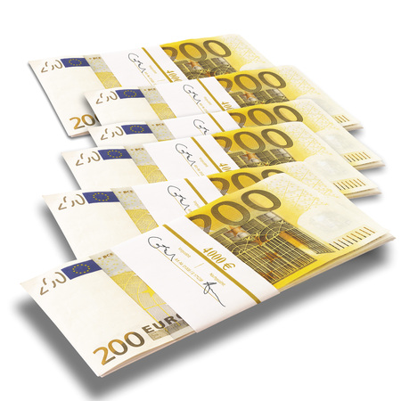Bunches Of 200 Euro Notes On White Background