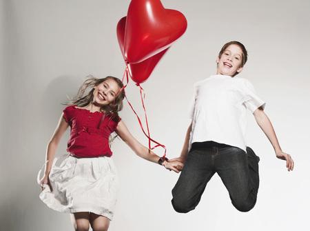 ardor: Children (10-13) Holding Balloons And Jumping,Smiling,Portrait LANG_EVOIMAGES