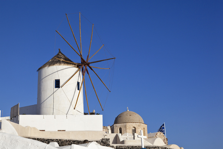 Greece,Cyclades,Thira,Santorini,Oia,View Of Windmill