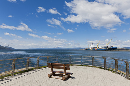 South America,Argentina,Tierra Del Fuego,Beagle Channel,Ushuaia,View Of Harbour With Container Ship