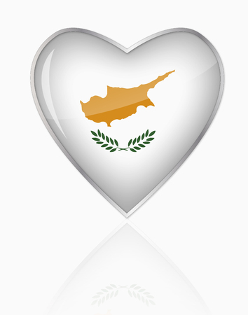 Cyprus Flag In Heart Shape On White Background