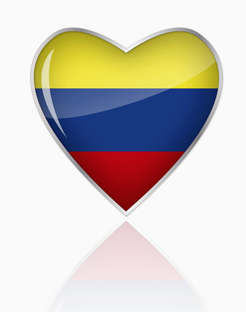 Colombian Flag In Heart Shape On White Background
