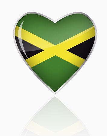 Jamaican Flag In Heart Shape On White Background LANG_EVOIMAGES