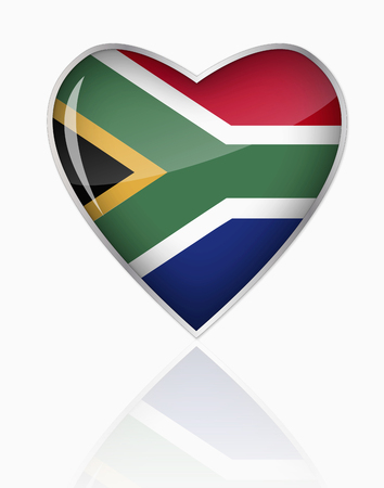 South African Flag In Heart Shape On White Background